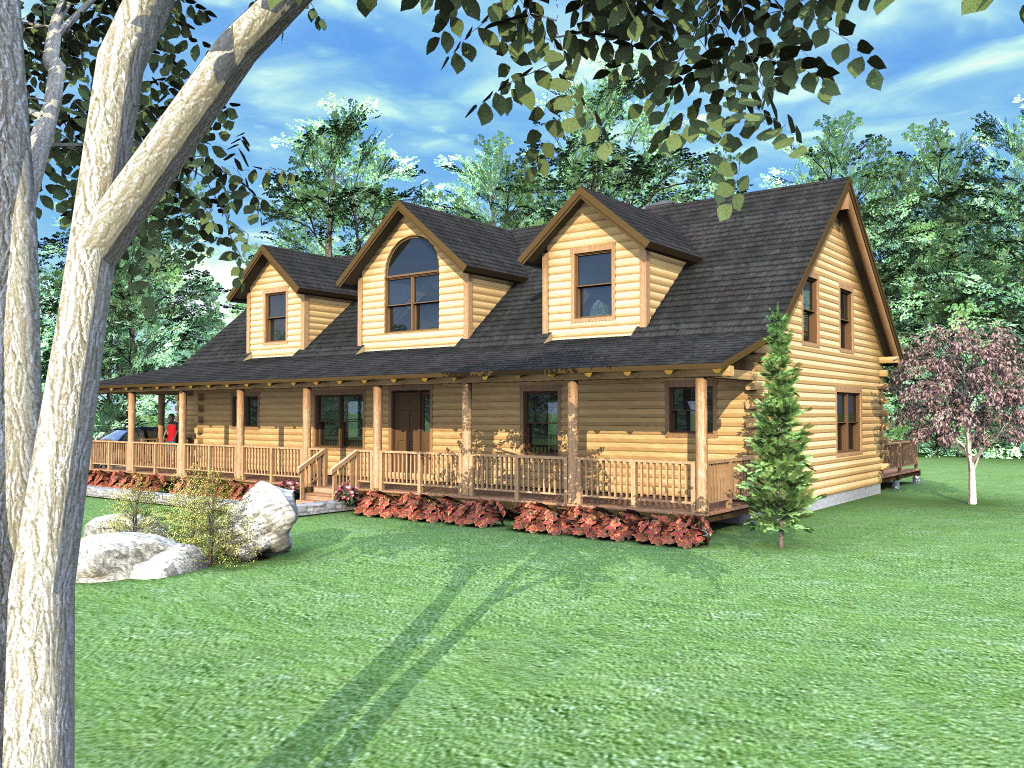 GRAND ISLE (03W0032) Real Log Homes rendering