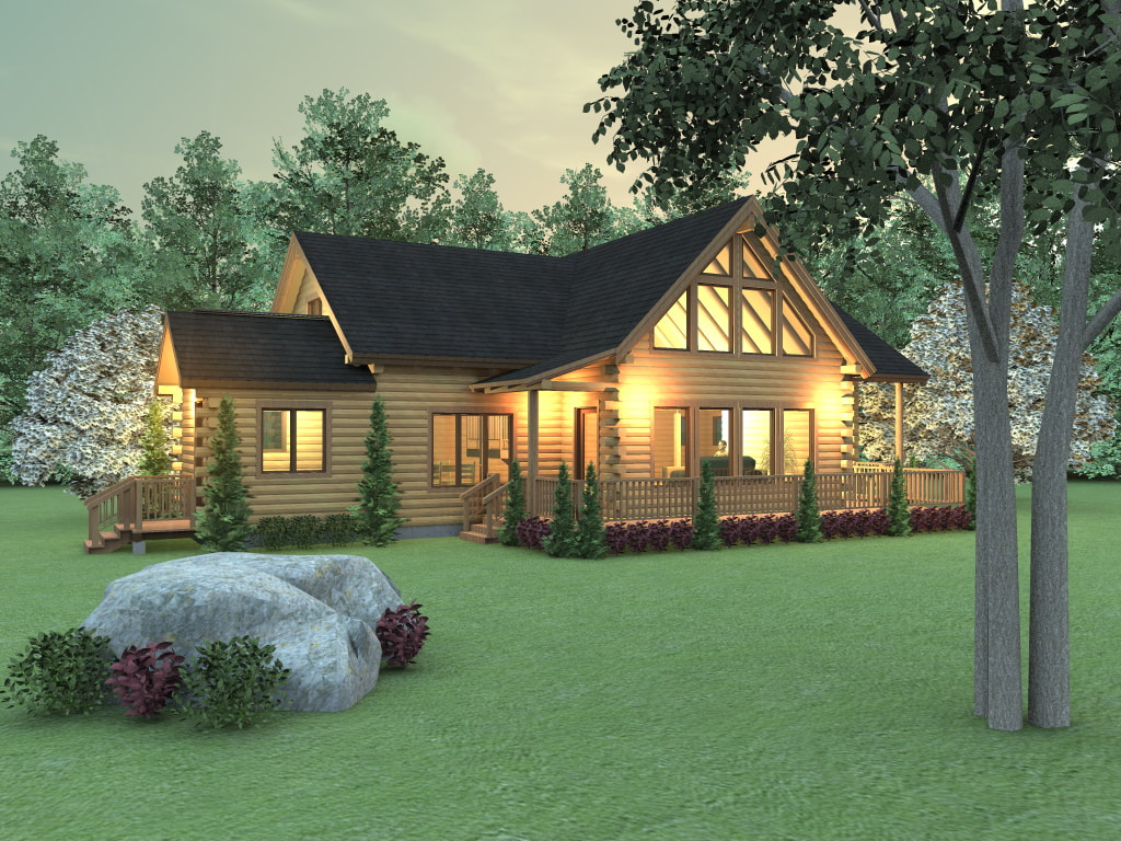 MIDDLETON (03W0031) Real Log Homes rendering