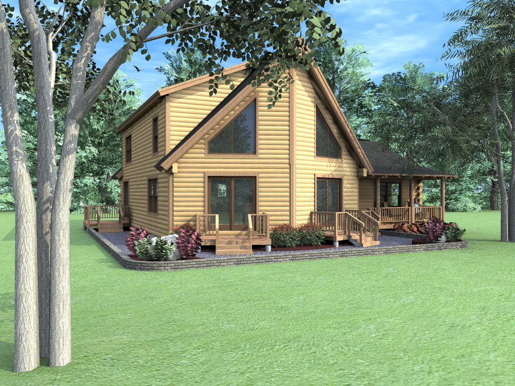 THE DAWSON (03W0029) Real Log Homes rendering
