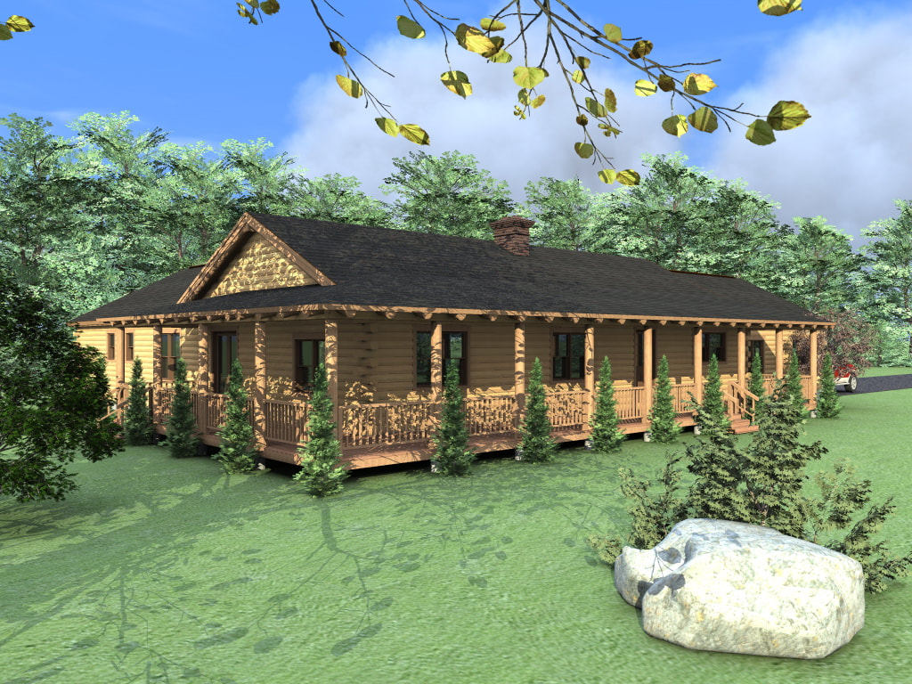 THE CHEYENNE (03W0002) Real Log Homes rendering