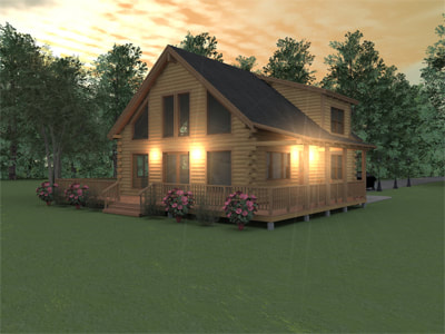 THE AUGUSTA Real Log Homes rendering