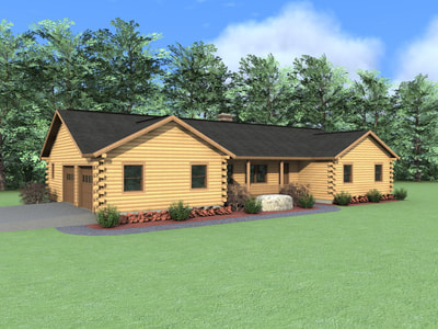 THE BREWSTER (03W0004) Real Log Homes rendering