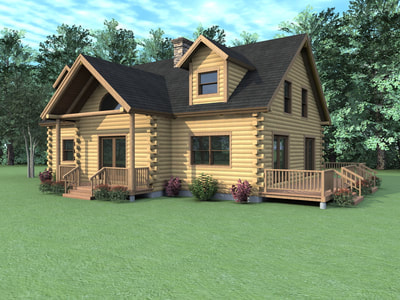 THE CLAREMONT (03W0010) Real Log Homes rendering