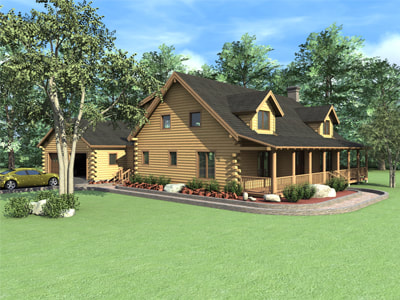 THE COVINGTON Real Log Homes rendering