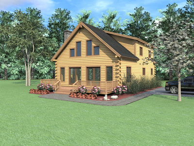 PIEDMONT (03W0018) Real Log Homes rendering