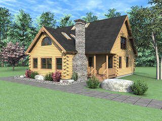 THE OZARK Real Log Homes rendering