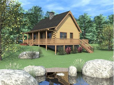 ROCKVILLE (03W0019) Real Log Homes rendering