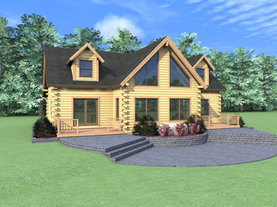 THE SHERIDAN Real Log Homes rendering
