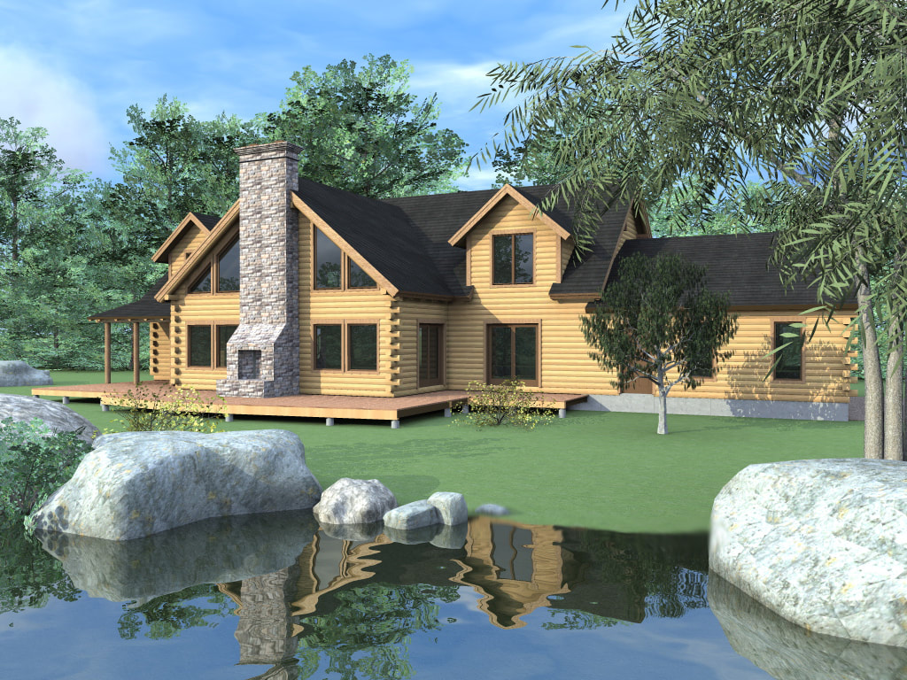 THE STONINGTON (03W0033) Real Log Homes rendering