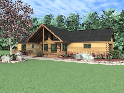 THE WOODLAND  (03W0007) Real Log Homes rendering